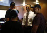 U.S. President Obama speaks to breakfast diners at Romero's Cafe in Pueblo