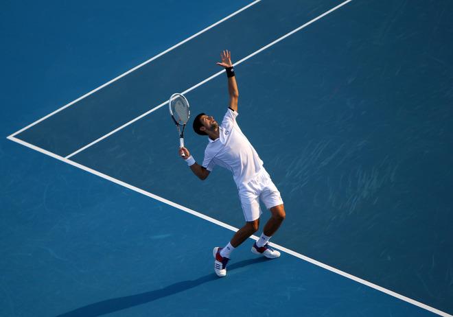 World Number One Novak Djokovic Of Serbia Serves