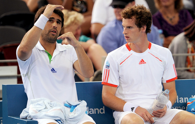 Andy Murray Of Britain (R) Chats