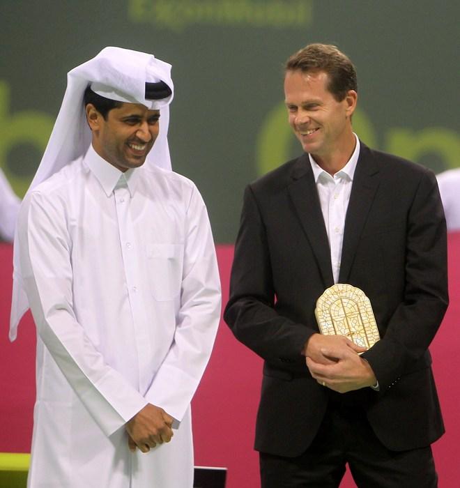 President Of The Qatar Tennis Federation Nasser Al-Khelaifi (L) Talks