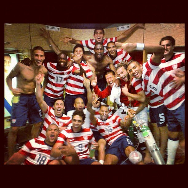 US National Team Celebrating at Azteca
