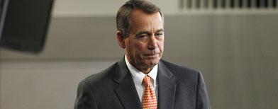 House Speaker John Boehner leaves a news conference on Capitol Hill in Washington, Thursday, Feb. 17, 2011. (AP Photo/Alex Brandon)