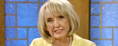Arizona Governor Jan Brewer in a televised debate on Sept. 1, 2010.  (KAET Horizon PBS in Arizona)
