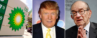 (L-R) BP signage (Joe Raedle/Getty Images); Donald Trump (Andrew H. Walker/Getty Images); Alan Greenspan (Chip Somodevilla/Getty Images)