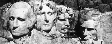 Mount Rushmore under construction. (FPG/Getty Images)