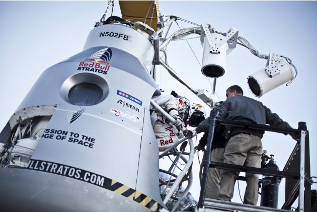 Handout photo of Pilot Felix Baumgartner of Austria stepping in to the capsule during the final manned flight for Red Bull Stratos in Roswell