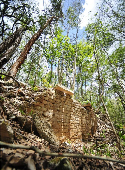 INAH handout photo shows the remains of a building at the newly discovered ancient Maya city Chactun in Yucatan peninsula