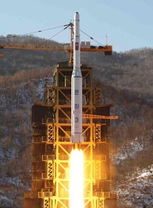 The North Korean rocket Unha-3, carrying the satellite …