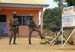 Cameroonian soldiers stand guard at the frontier post …
