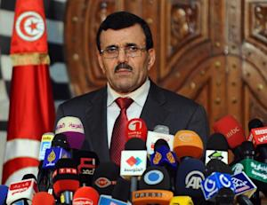 Ali Larayedh gives a press conference in Tunis on October…