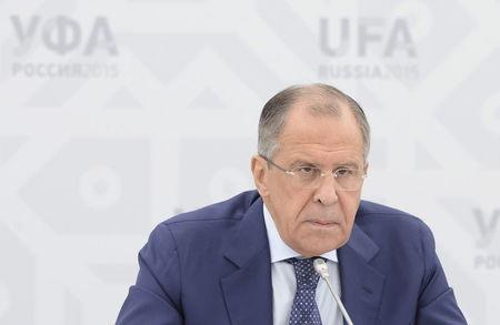 Russia's Foreign Minister Lavrov attends a news briefing in Ufa