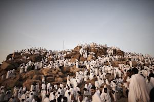 Muslim pilgrims gather on Mount Arafat near Mecca as …