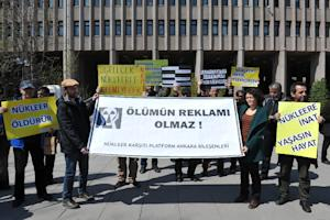 Turkish environmental activists stage a protest against…
