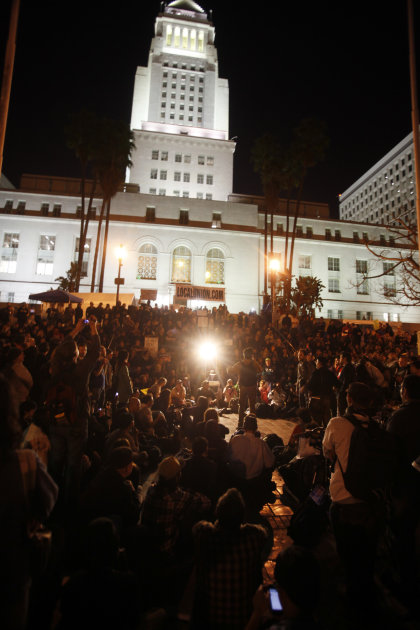 The Occupy Los Angeles encampment is seen with the Los Angeles City Hall in the backgrounda  Tuesday, November 29, 2011.  Police in Los Angeles and Philadelphia stormed Occupy Wall Street encampments