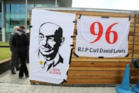 Banners in memory of victims of the 1989 Hillsborough …