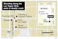 Map locates the site of a shooting in Las Vegas that ended in a deadly car crash.