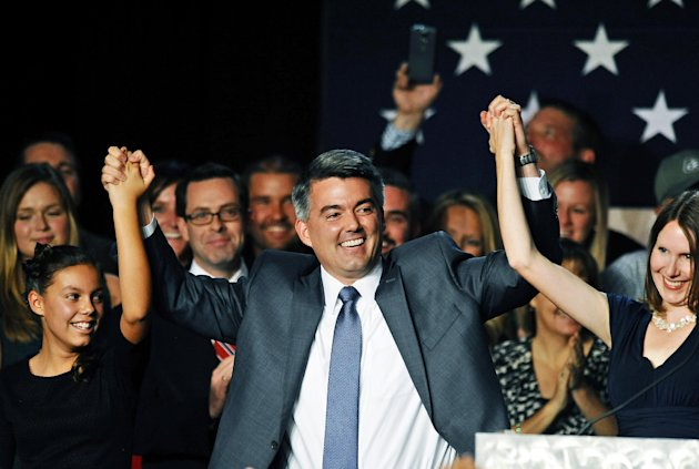 Flanked by family and supporters, Senator-elect Cory Gardner, R-Colo., celebrates at the Hyatt Regency Denver Tech Center in Denver on Election Day, Nov. 4, 2014. Gardner defeated incumbent Democratic Sen. Mark Udall. (Chris Schneider/AP)