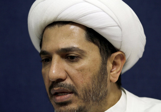 Sheik Ali Salman, head of the Shiite opposition Al Wefaq society, speaks to The Associated Press at his office in Manama, Bahrain, on Sunday, Nov. 11, 2012. Envoys from the U.S. and other countries are acting as intermediaries with the Gulf nation's rulers in attempts to ease 21 months of unrest, the head of Bahrain's main opposition group said Sunday. Even so, he said protest groups see little hope for breakthrough dialogue as crackdowns widen. The remarks by Salman, head of the top Shiite political bloc Al Wefaq, underscore the sense of a deepening crisis in strategic Bahrain after a week that included deadly bomb blasts and an expanded deployment by the paramilitary National Guard. (AP Photo/Hasan Jamali)