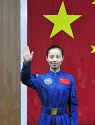 Crew member of the Shenzhou-10, Wang Yaping, during a press conference on June 10, 2013. She is China's second woman astronaut