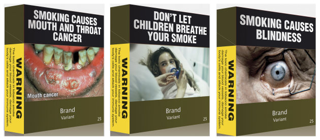 A combination photo shows illustrations obtained by Reuters of some of the proposed models of cigarettes packs in this April 7, 2011 file photo. Australia's highest court will rule on the world's toughest anti-cigarette marketing laws on August 15, 2012 in what has become a major test case for global tobacco companies in their fight against restrictions on the sale of their products. REUTERS/Department Of Health/Handout/Files (AUSTRALIA - Tags: HEALTH POLITICS BUSINESS) FOR EDITORIAL USE ONLY. NOT FOR SALE FOR MARKETING OR ADVERTISING CAMPAIGNS