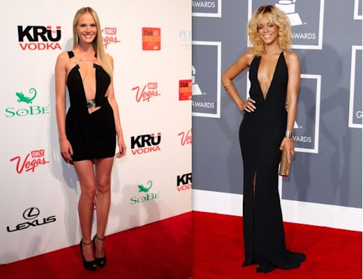 The black plunging V: Saucy and revealing by nature, the deep v-neck borders on scandalous. The trick here is balance. Anne V is showing WAY too much skin, while Rihanna's proportions make a sensual statement. (Jacob Andrzejczak/Getty & Dan MacMedan/WireImage)