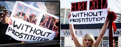 Manifestación en Ucrania en contra de la prostitución en la Eurocopa./ Foto: Reuters