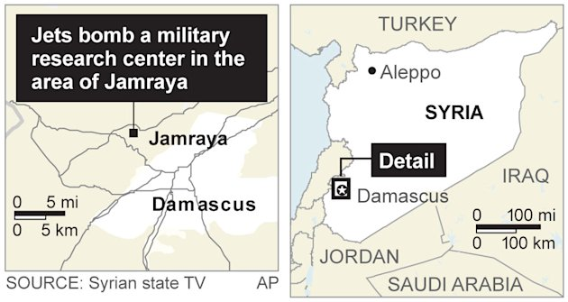 This graphic shows the location of a Wednesday, Jan. 30, 2013 Israeli airstrike on a military target in Jamraya, Syria, about 15 kilometers (10 miles) from the border with Lebanon. (AP Graphic)