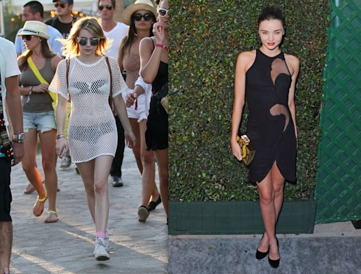 The new mesh: Mesh isn't just for basketball jerseys anymore, people. And this is why Emma Roberts' styling is so ineffective and tacky. If you're going to try this out, choose a dress like Miranda Kerr's that combines it with another fabric for a sexy but not vulgar look. (WENN.com & Jon Kopaloff/WireImage)