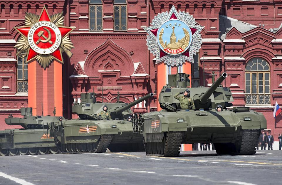 In this photo taken on Saturday, May  9, 2015, Russian T-14 Armata tanks make their way during the Victory Parade marking the 70th anniversary of the ...