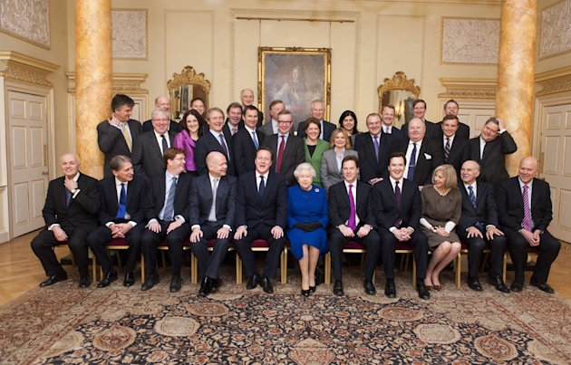 Prime Minister David Cameron and Cabinet Ministers meet the Queen last year. There are currently only four women in the Cabinet. (Rex)