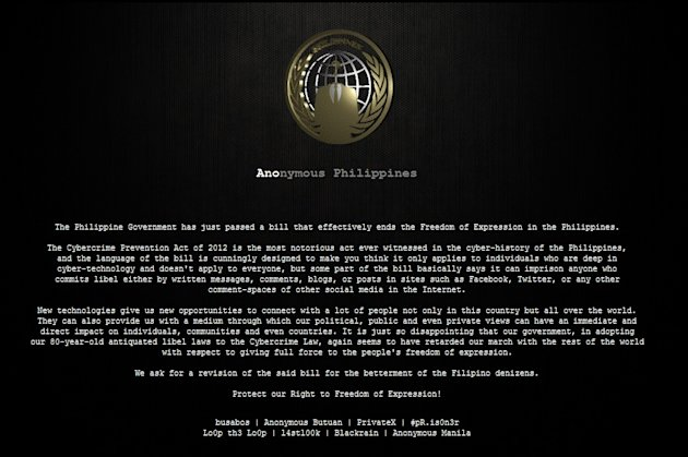 Hackers replace the front pages of several government and private websites with a black screen bearing a message against the newly approved Cybercrime Prevention Act. (Photo screen grabbed)