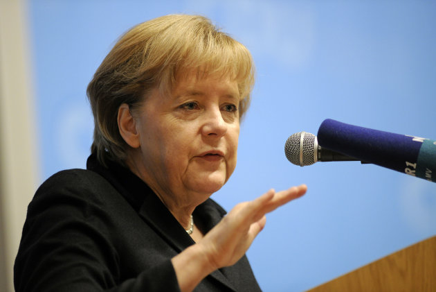 """German chancellor Angela Merkel speaks at a regional meeting of her Christian Democratic Party in Sternberg, eastern Germany Saturday Nov. 3, 2012. Merkel said Europe's sovereign debt crisis will last at least five more years and the continent is on the right path to overcome the crisis but """"whoever thinks this can be fixed in one or two years is wrong."""" (AP Photo/dapd/ Thomas Haentzschel)"""