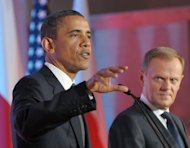 """US President Barack Obama (left) and Polish Prime Minister Donald Tusk at a joint press conference in Warsaw in 2011. The White House on Wednesday shrugged off Polish demands to express more than mere 'regret' after President Barack Obama mistakenly referred to a Nazi Holocaust site as a """"Polish death camp."""" (AFP Photo/Janek Skarzynski)"""