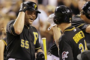 Pittsburgh Pirates' Russell Martin (55) celebrates …