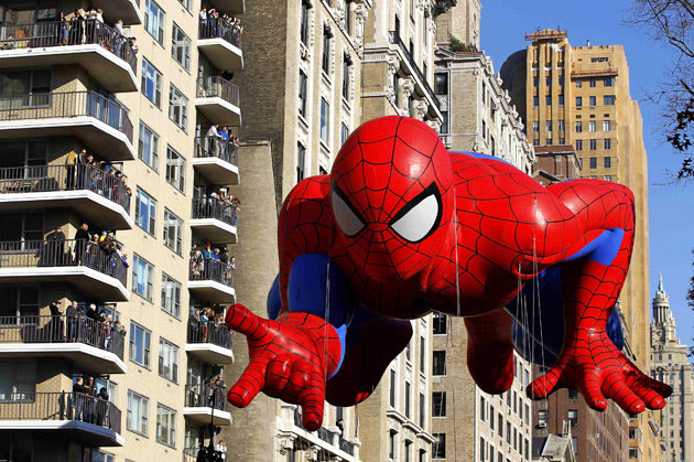 The Spiderman balloon floats down Central Park West during the 86th Macy's Thanksgiving Day Parade in New York