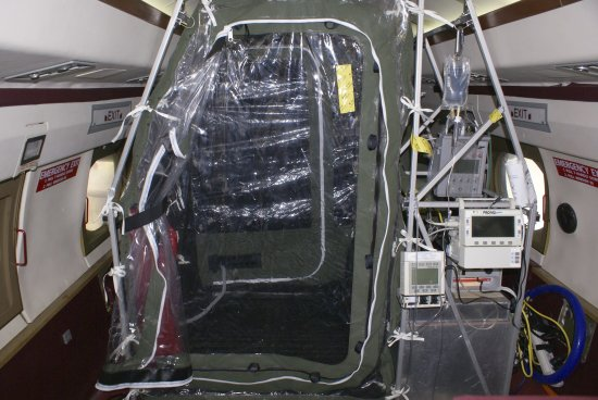 The tentlike device installed on Phoenix Air's planes when biological containment is required. (CDC/Reuters)