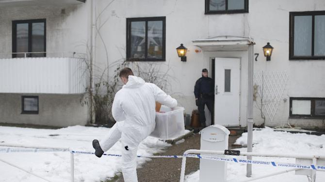 Police investigators outside a home for juvenile asylum seekers in Molndal, southwest Sweden, on January 25, 2016