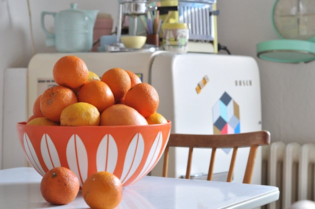 """Your own enjoyment of a remodel should outweigh resale concerns. The character-filled kitchen of German blogger and thrifter """"Miss Merle,"""" from Yahoo! Homes"""