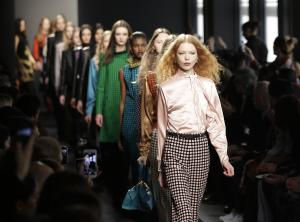 Models wear creations for Bottega Veneta women's …