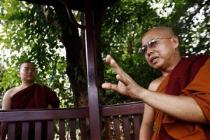 Buddhist monk Dr. Dhammapiya talks to Reuters during …