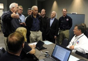 Flanked by Colorado elected officials,Vice President …