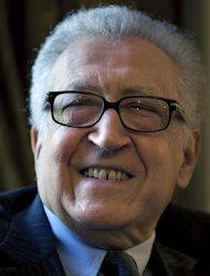 U.N.-Arab League envoy to Syria Lakhdar Brahimi smiles during his meeting with Arab League chief Nabil Elaraby, unseen, during their meeting at the Arab League headquarters, in Cairo, Egypt, Sunday, Feb. 17, 2013. The U.N. says nearly 70,000 people have been killed in Syria's conflict since March 2011. (AP Photo/Nasser Nasser)