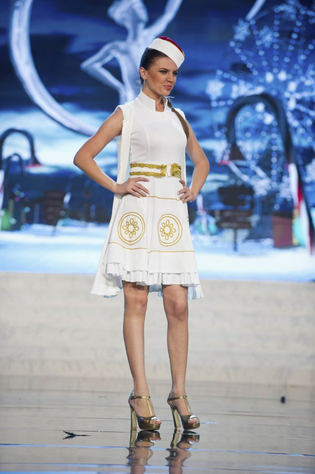 Miss Montenegro Andrea Radonjic performs onstage at the 2012 Miss Universe National Costume Show at PH Live in Las Vegas