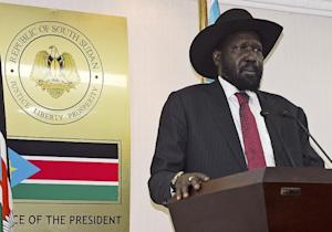 South Sudanese President Salva Kiir holds a press conference …