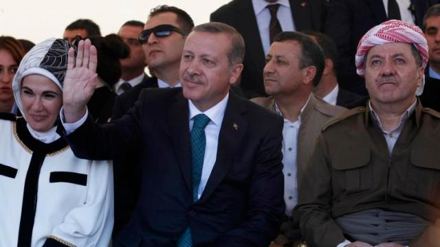 Turkey's PM Erdogan and President of Iraqi Kurdistan Barzani attend ceremony with Erdogan's wife Emine Erdogan in Diyarbakir