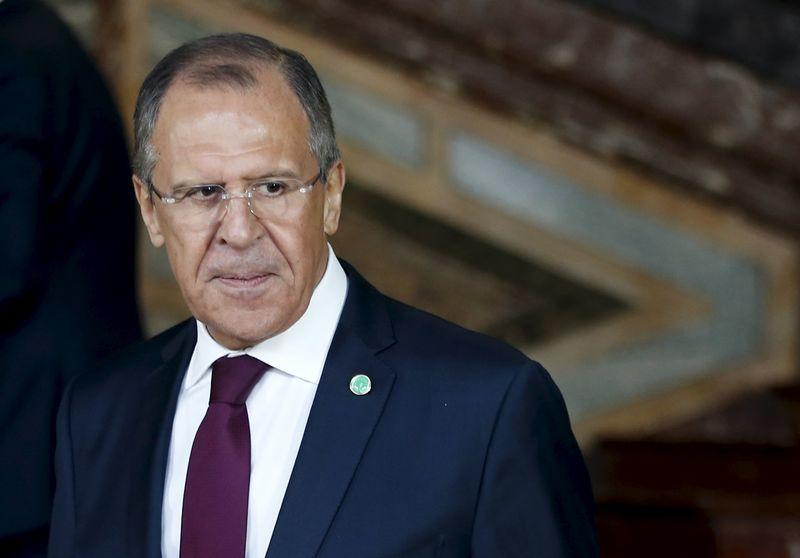 Russian FM Lavrov leaves a session of the Committee of Ministers of the Council of Europe in Brussels