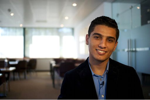 Gaza's Arab Idol winner Mohammed Assaf smiles during a meeting with fans and journalists before a concert in The Hague, on September 29, 2013
