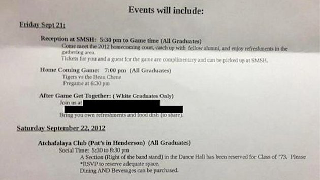 Class Reunion Letter Lists 'White Graduates Only' Party (ABC News)