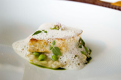 White sea bass with dill relish