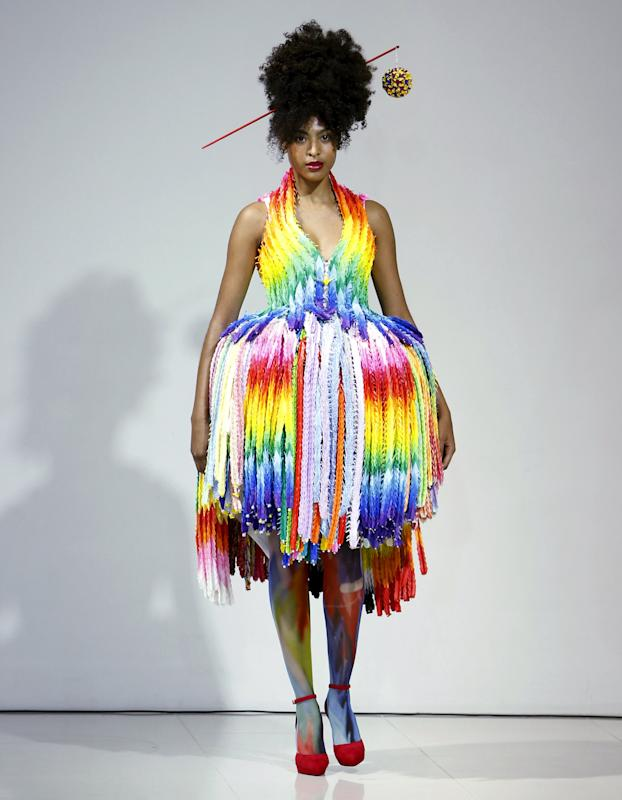 Model presents a creation by designer Takafumi Tsuruta from his Spring/Summer 2016 collection for his brand tenbo during Tokyo Fashion Week in Tokyo, Japan